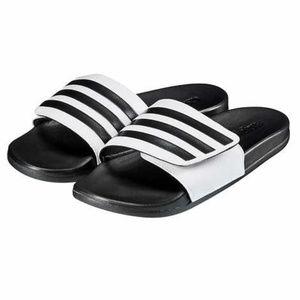 Womens Adidas Unisex White Black Slide Sandals NEW